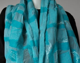 Nuno felt scarf, aqua. Large blue green silk felted shawl. Wrap for women.