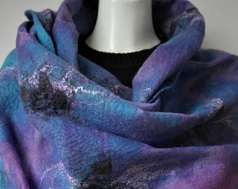 Nuno felt scarf. Large blue purple silk felted shawl. Wrap for women.