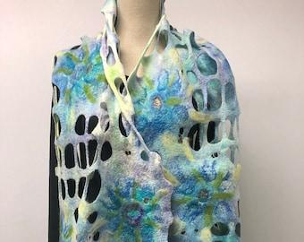 Blue felted womens scarf. Shawl, felt, wool, silk.