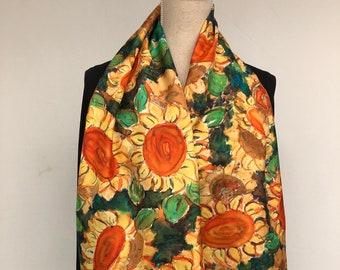 Silk womens scarf yellow flowers