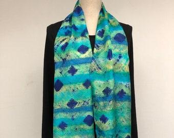 Blue green silk womens scarf,handmade.