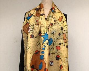Yellow silk womens scarf, handmade.