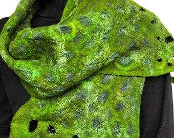 Green felted silk scarf, handmade nunofelt shawl.