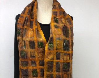 Maroon felted silk scarf, nunofelt for women.