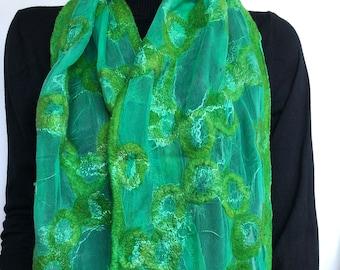 Green felted silk scarf