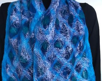 Blue felted silk scarf