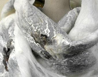 Nuno felt wrap WHITE FLOWERS. Shawl for women. White scarf, handmade.