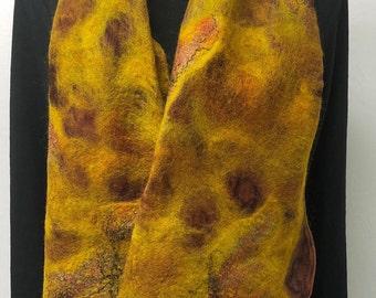 maroon autumn scarf, felt and silk