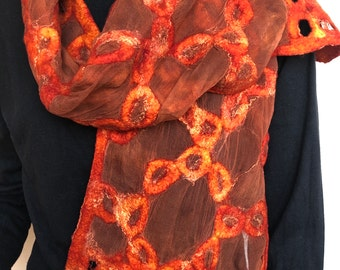 Red orange scarf, silk and felt