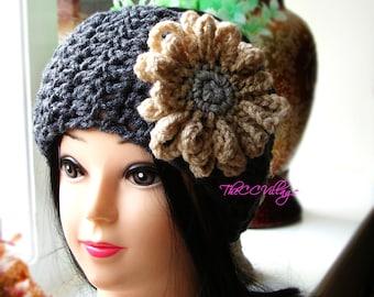 Grey Crochet womens headband, headband women Earwarmer, Crochet headband flower for winter