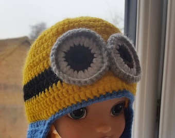 Crochet baby minion Hat, yellow blue boy & girl earflap hat for spring