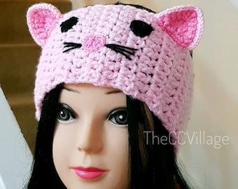 Crochet cat headband women Earwarmer, Crochet animal baby girl headband for winter, women headband