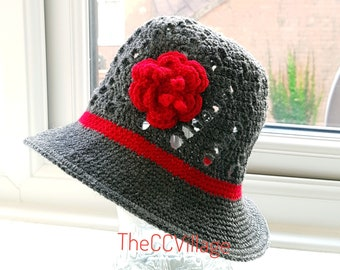 Dark grey Crochet Womens Hats, Handmade Teen Hat, woman Cap , Crochet Beanie, with red flower