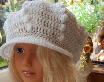 White Crochet Womens Hats, crochet Teen Hat, crochet woman Cap, Beanie
