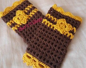 Crochet Fingerless Gloves, wrist warmer fingerless mittens, winter gloves fingerless arm warmers with butterfly
