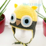Crochet Owl Hat for baby, yellow grey boy & girl earflap hat for spring
