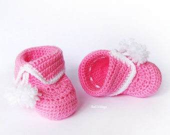 Crochet baby booties, baby girl booties, baby shower gifts shoes in pink, baby gift, Crochet baby shoes