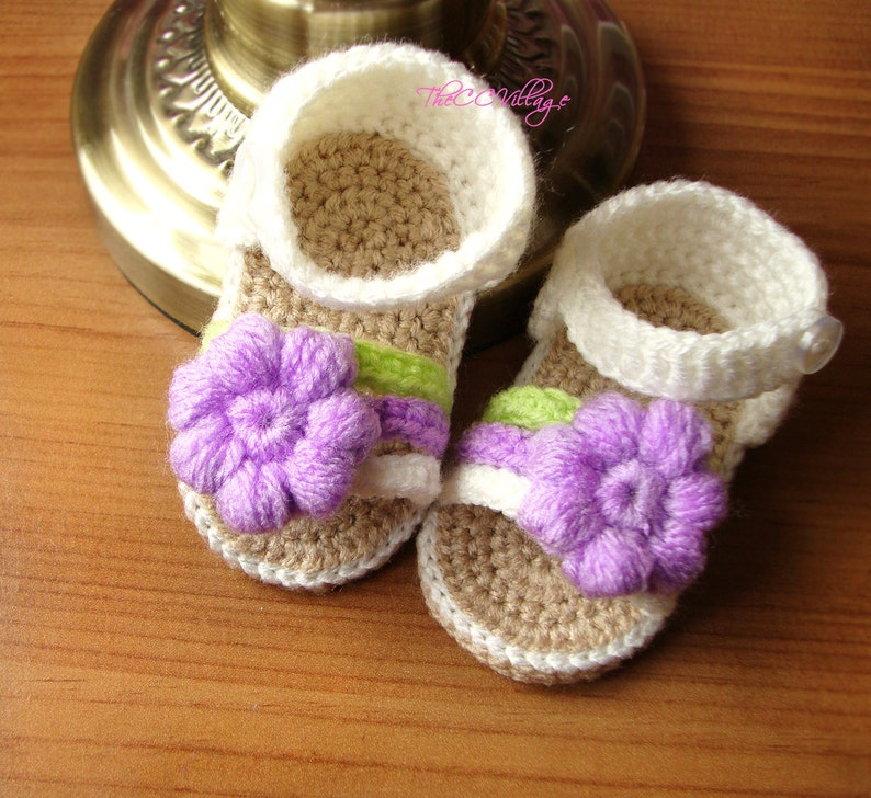 Cream crochet baby sandals crocheted baby girl shoes with image 0
