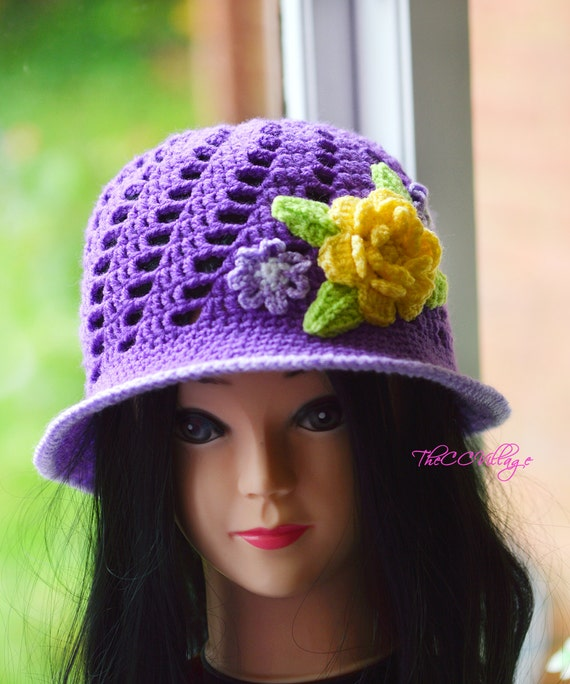 958669493aa58 Purple Crochet Womens Hats Handmade Teen cloche Hat woman