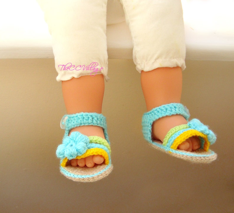 Aqua crochet baby sandals handmade crocheted girl shoes green