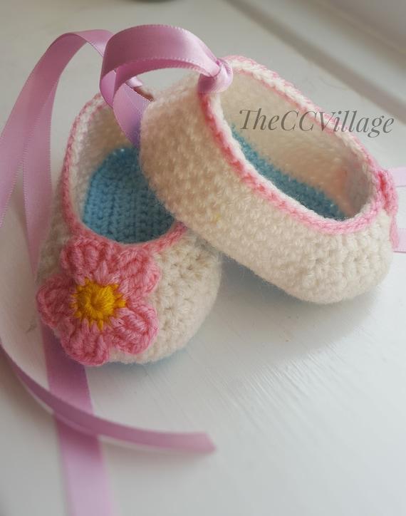 Kreme Häkeln Baby Mädchen Schuhe Ballerina Baby Schuhe Rosa Etsy