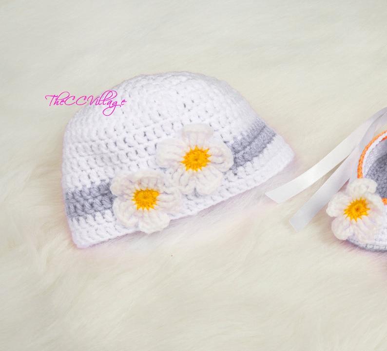 White Crochet Baby Hat flower Girl Hat crochet Cap Crochet image 0