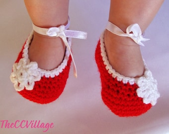 Red handmade crochet baby girl shoes, Ballerina Baby Girl Crochet Shoes, Slippers crochet Baby shoes, white flower