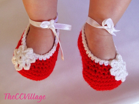 24266d46d8556 Red handmade crochet baby girl shoes, Ballerina Baby Girl Crochet Shoes,  Slippers crochet Baby shoes, white flower