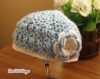 Blue Baby Crochet Hat, Girl Hat, Cap, newborn Beanie, with handmade Crocheted Blue White flower