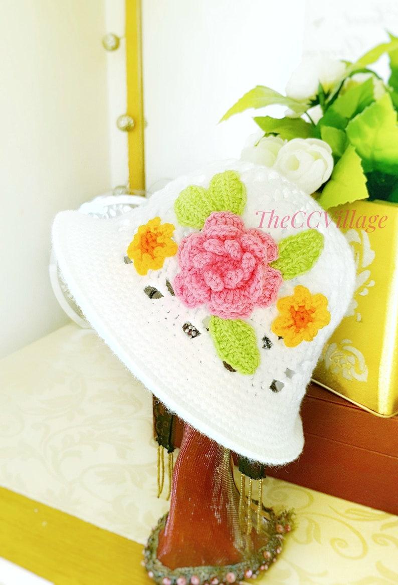 Spring Crochet baby girl Hat baby shower Cloche baby hat image 0