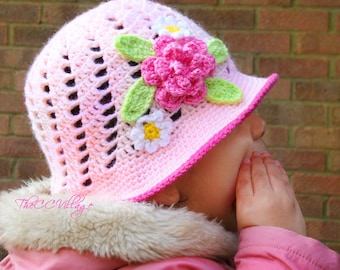 Crochet baby hat, crochet panama hat, baby girl Hat, baby shower, for toddlers, newborn hat, Crochet cloche hat with pink flower