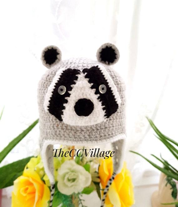 Tier Hüte Grau Waschbär Häkeln Häkeln Tiere Häkeln Babymütze Etsy