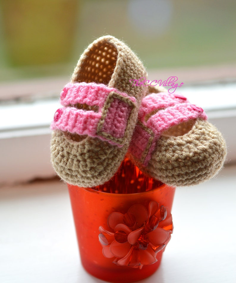 eef0b8e248eca Beige and pink handmade crochet baby girl shoes with pink buttons,  Ballerina Newborn Baby Shoes, Slippers