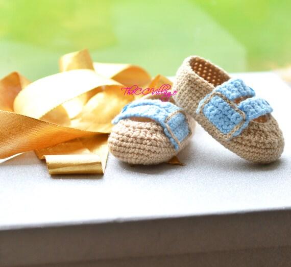 Braun Handarbeit Häkeln Baby Boy Schuhe Mit Blauen Tasten Etsy