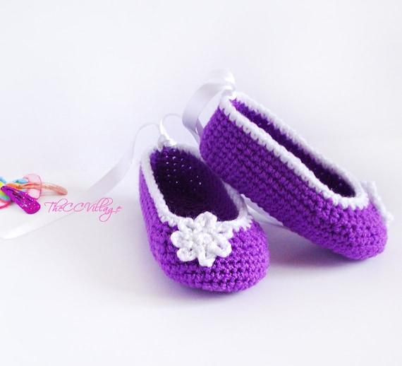 Purple crochet baby girl shoes Newborn