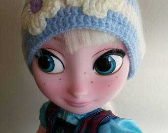 Baby blue Crochet Hat, Newborn Crochet Girl Hat, with white flowers
