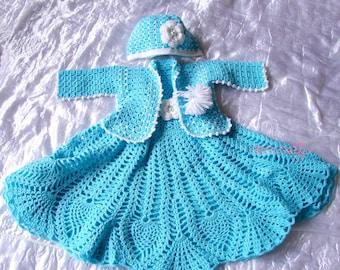Turquoise Crochet dress set , flower girl dress, infant girl dress, hat, sweater, clothing, girls dress, valentines day