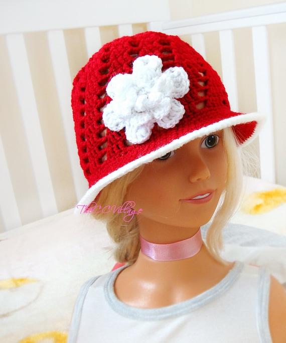 Cloche häkeln Mädchen Hut Hut für Kinder mit weißen Blüten | Etsy