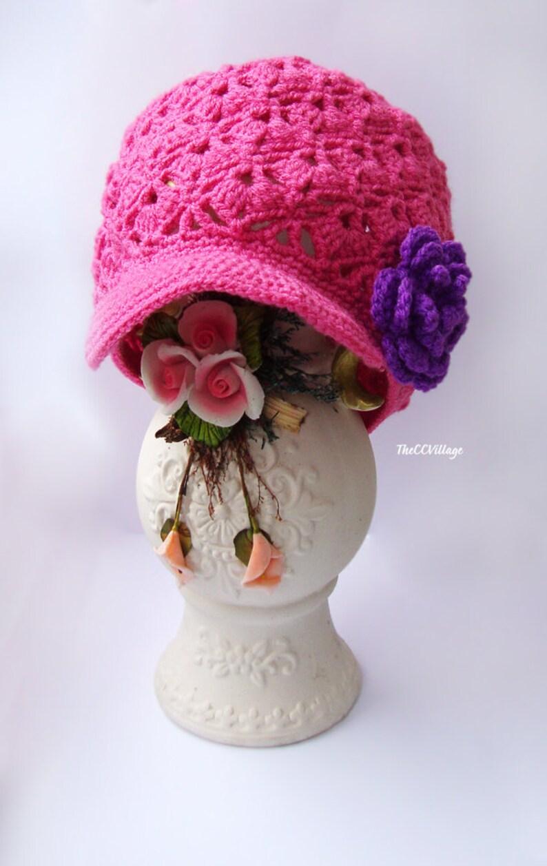 Pink fuchsia Crochet Baby Hat Crochet Girl Hat with purple or image 0