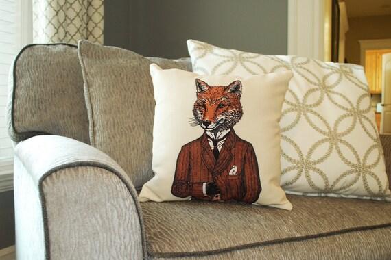 Fox Pillow Fox Art Animal Pillow Home Decor Kids