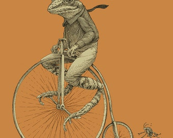 Frog on Bike Print 16x20 Penny Farthing Bicycle Art Print