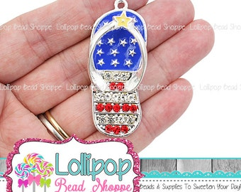 b33d78410 48mm Patriotic Flip Flops Rhinestone Pendant 4th of July American Flag Red  White Blue Chunky Necklace Pendant Bubblegum Beads USA RP134