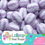LAVENDER WATERMELON Beads 18mm Chevron Zig Zag Beads Oval Acrylic Beads Chunky Beads 10 Plastic Easter Egg Beads Striped Bubble Gum Beads