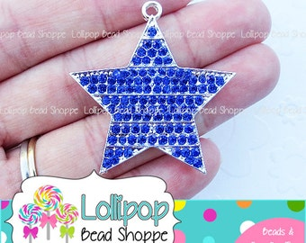 0cc8cb5f4 42mm BLUE Star Rhinestone Pendant Stripe Patriotic Dark Blue Star Pendant  4th of July Chunky Necklace Pendant Crystal Bling Bubble Gum Beads