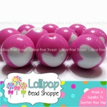 MAGENTA Round HEART Beads 16mm Chunky Gumball Beads Acrylic Beads Plastic Beads Round Beads 20-ct Bubblegum Necklace Beads Bubble Gum Beads