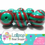 GREEN and RED Beads Striped Beads 20mm Beads Chunky Beads Christmas Resin Beads Plastic Beads Bubblegum Beads Bubble gum Beads Gumball Beads