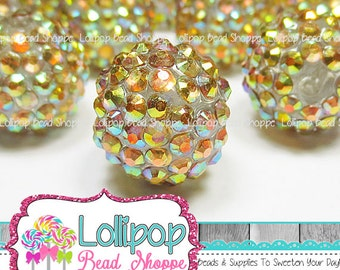 18mm GOLD AB Rhinestone Beads Pave Beads Bumpy Beads Chunky Bling Aurora  Borealis Resin Berry Beads Plastic Sparkly Beads Bubblegum Beads f5966841c0cf