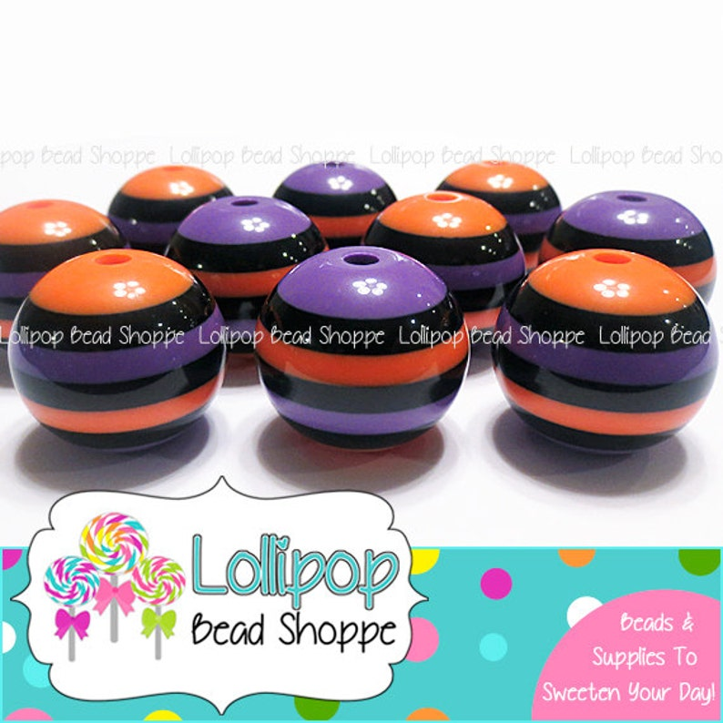 20mm ORANGE PURPLE & BLACK Striped Beads Chunky Necklace Beads image 0
