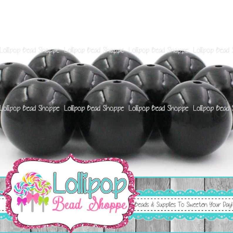 20mm Beads BLACK Beads Bubble Gum Beads Gumball Beads image 0