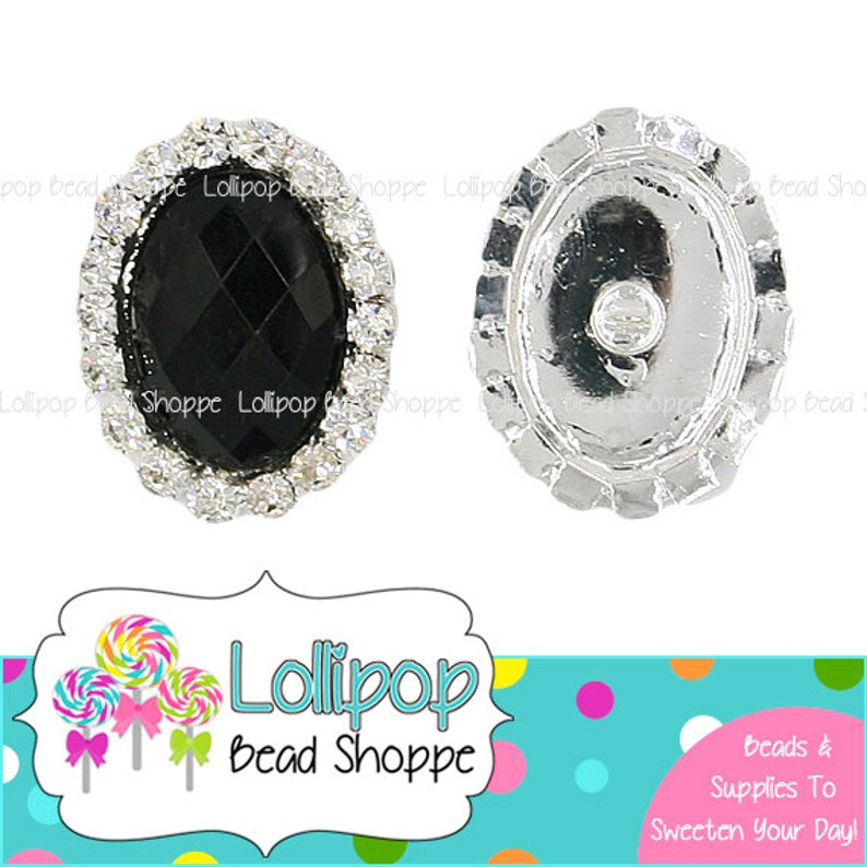 25mm BLACK RHINESTONE Oval Button Facet Crystal Silver Metal image 0